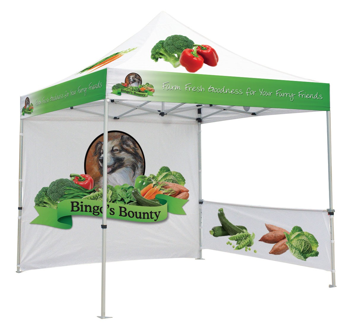 Canopy Tent Kit will full custom printed top and walls