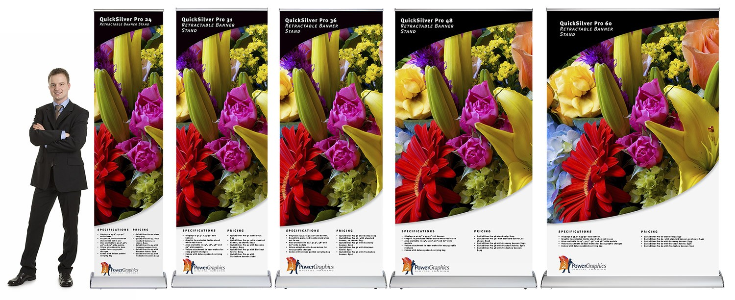 QuickSilver Pro family of retractable banner stands