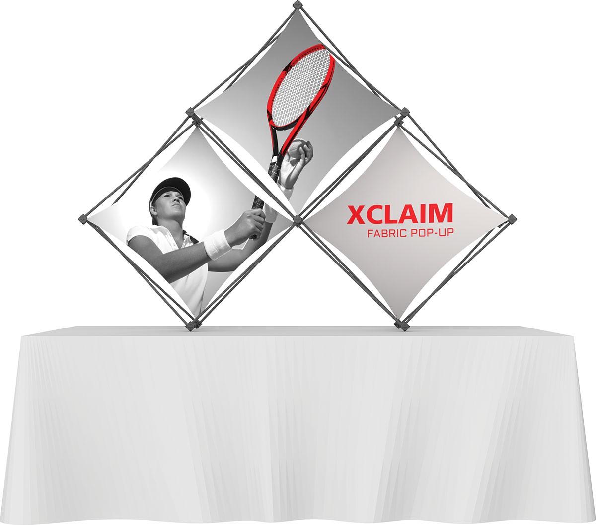 XClaim 3 Quad Pyramid Fabric Table Top Display Kit 1