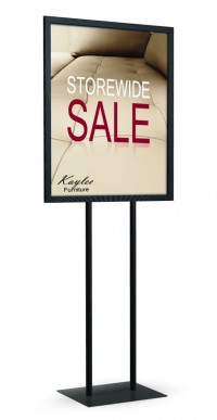 Double Pole Flat Base Floor Standing Sign Holders